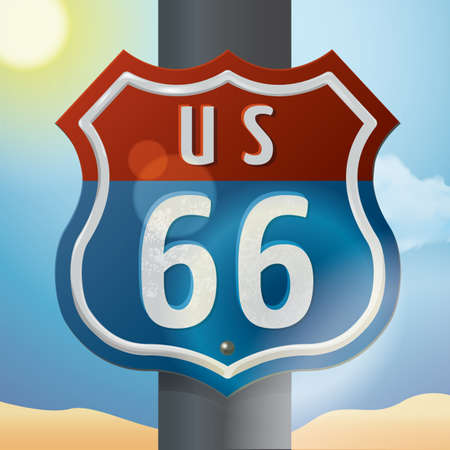 sixty six: us 66 route sign Illustration