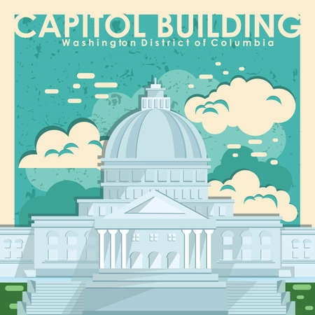 district of columbia: capitol building wallpaper Illustration