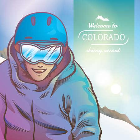 colorado: welcome to colorado skiing resort Illustration