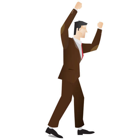 fullbody: businessman with raised hands Illustration
