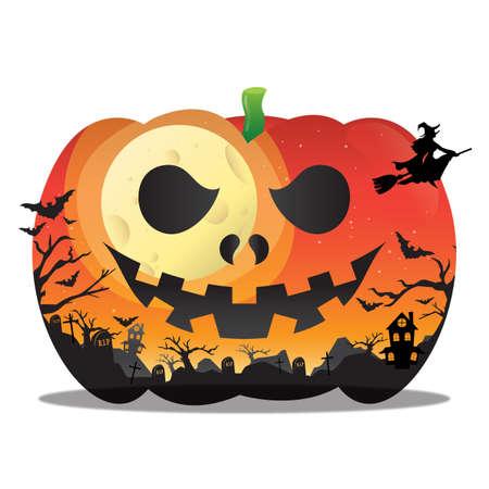 barren: double exposure of pumpkin and halloween night