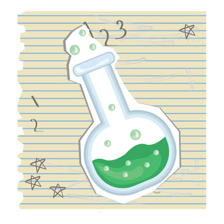 ruled paper: chemical flask