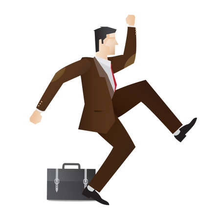 businessman jumping: happy businessman jumping in air Illustration