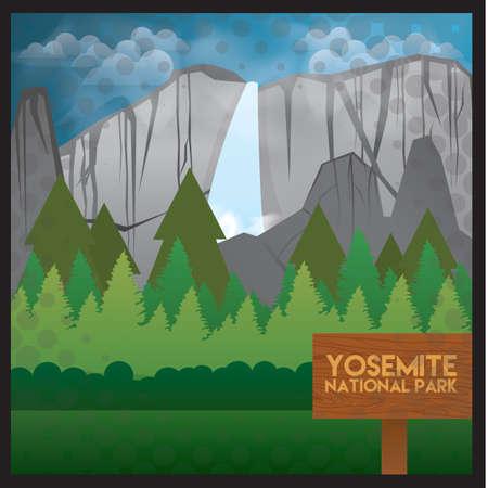 yosemite national park wallpaper  イラスト・ベクター素材