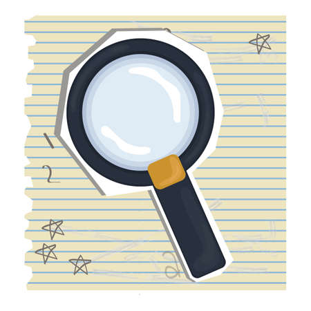 ruled paper: magnifying glass Illustration