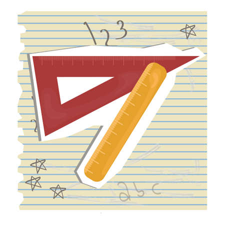 ruled paper: set square and scale