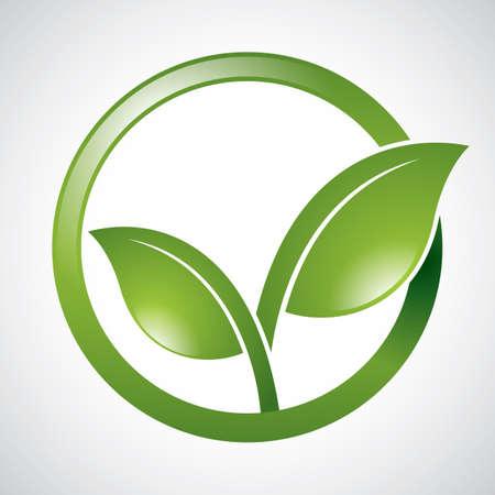 go green logo: leaves Illustration