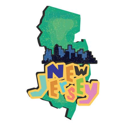 jersey city: new jersey state map