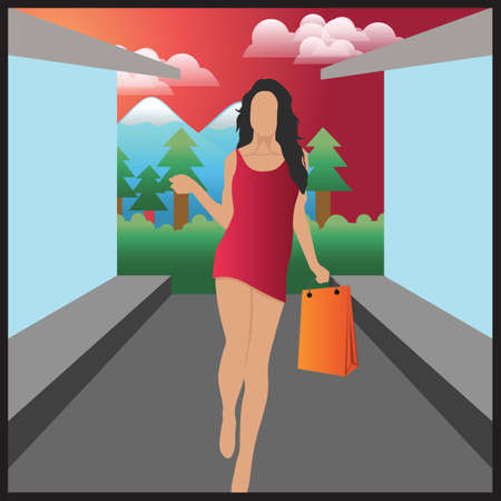beings: woman with shopping bags