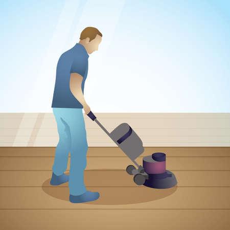 man with floor polishing machine
