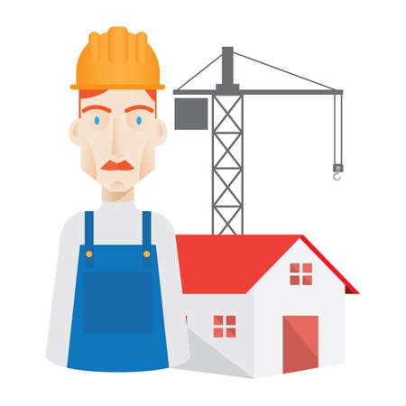 site: worker and construction site Illustration