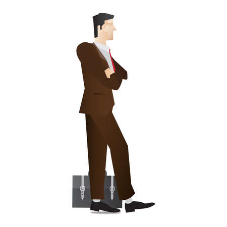 fullbody: businessman with folded hands