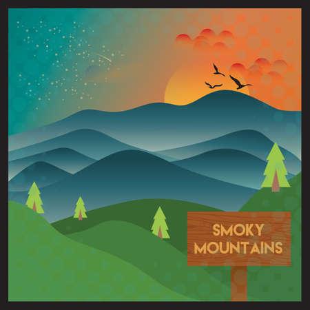 smoky mountains wallpaper Illustration