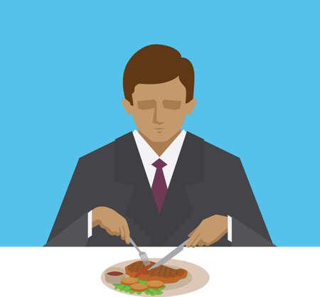 Mann isst Steak