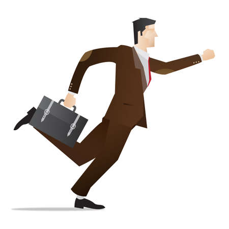 hurrying: hurrying businessman with briefcase in hand