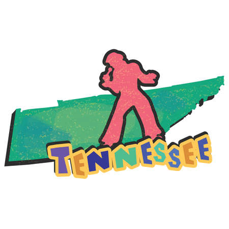 tennessee: tennessee state map Illustration