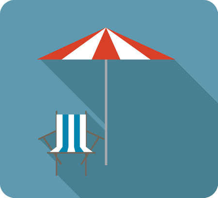 parasol: beach chair with parasol Illustration