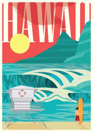 coastlines: hawaii poster Illustration