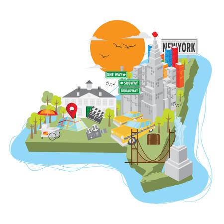 manhattan bridge: new york state map