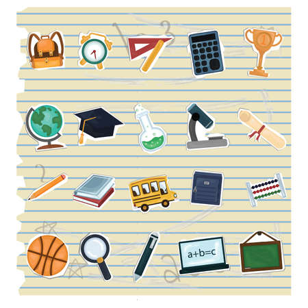 ruled paper: collection of education icons Illustration
