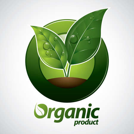 dewdrop: organic product label Illustration