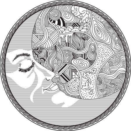 crescent: zentangle styled crescent