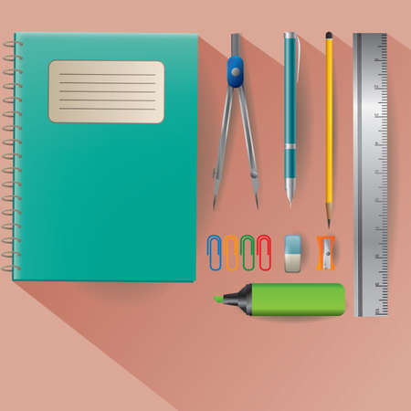 writing materials: stationery supplies Illustration