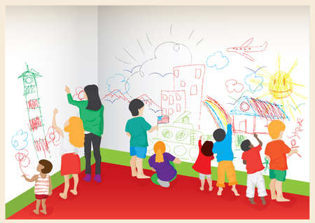 painting on the wall: play school