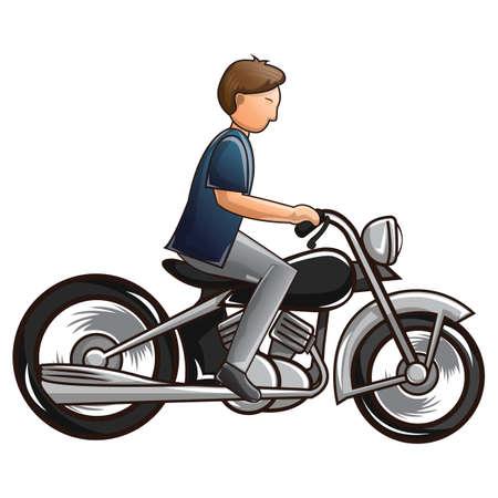 man riding motorcycle Vector Illustration