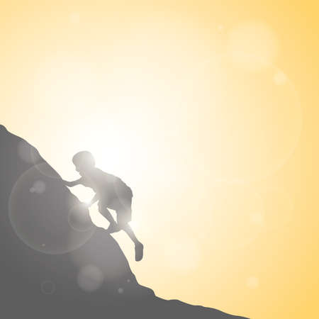 rock climbing: silhouette of boy rock climbing