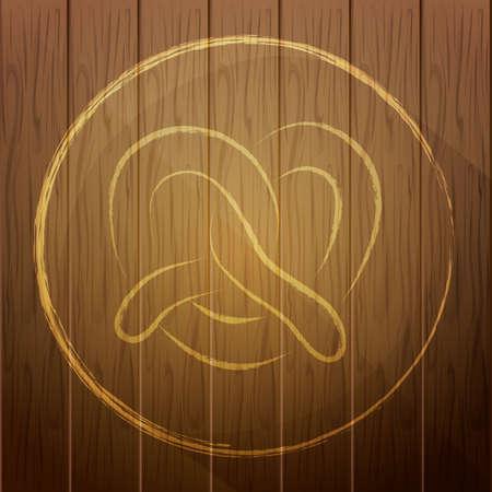 pretzel: pretzel on wooden background Illustration