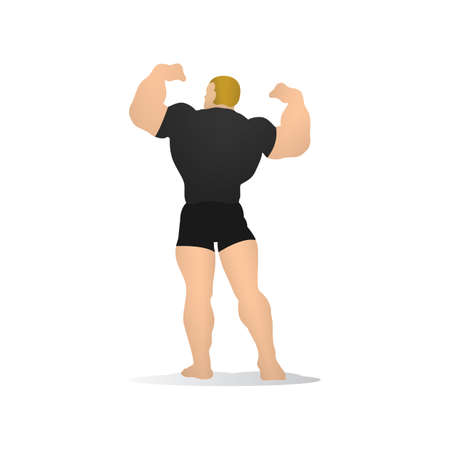 man back view: bodybuilder Illustration