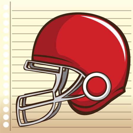 ruled paper: american football helmet Illustration