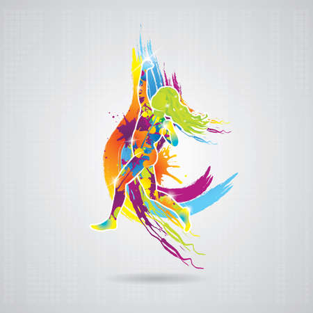 paint splatter: dancing girl with colorful splash