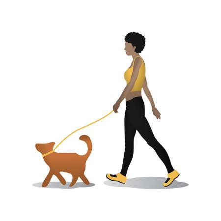 stroll: woman taking dog for walk Illustration