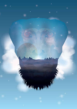 double exposure: double exposure chimpanzee Illustration