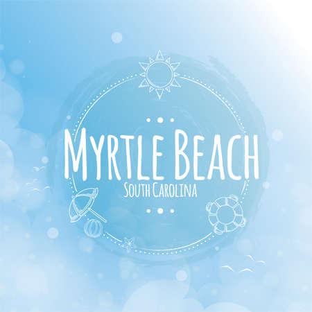 myrtle: myrtle beach label Illustration