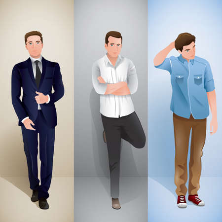 smart man: men in different outfit