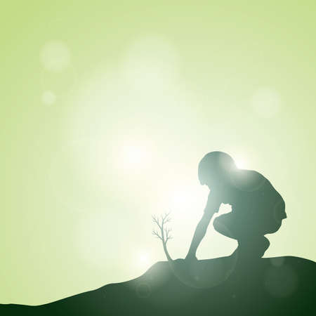 silhouette of boy planting tree
