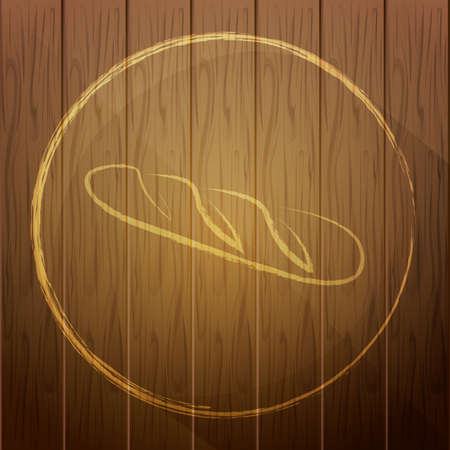 handdrawn: french bread on wooden background