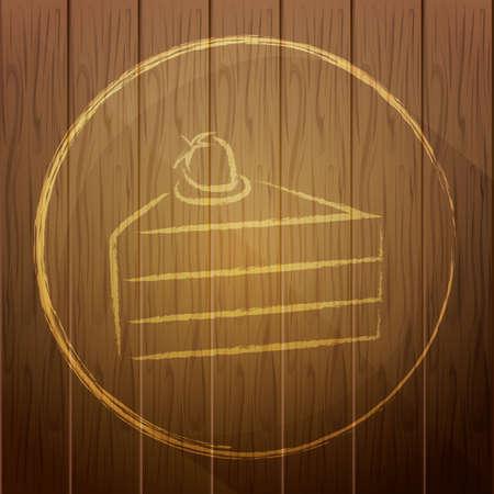 piece of cake: pedazo de torta en el fondo de madera