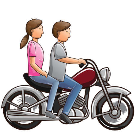 couple riding motorcycle Vector Illustration