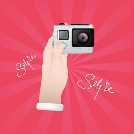 snap: hand holding camera Illustration