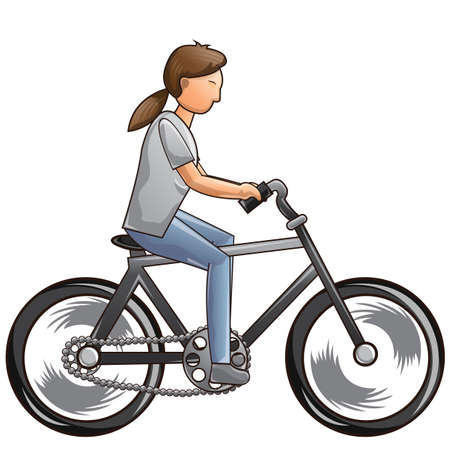 full length woman: woman riding bicycle