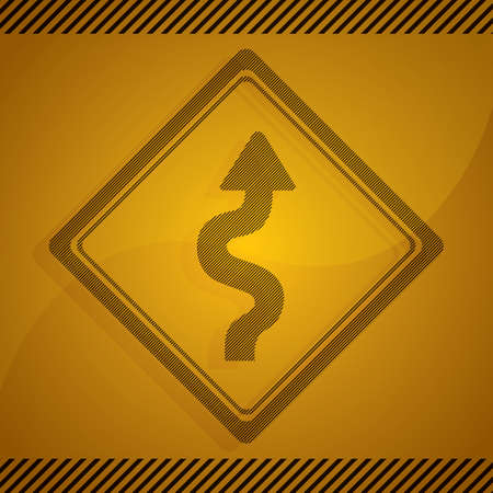 winding: right winding road sign