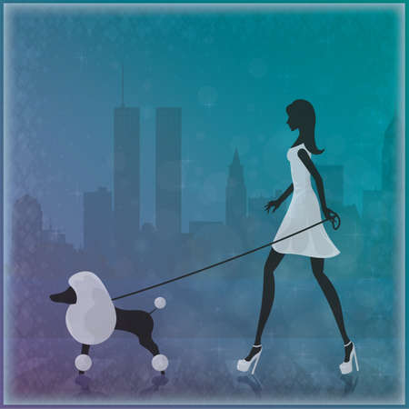 her: woman walking with her dog
