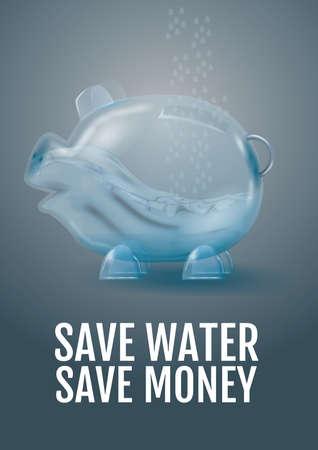 sparen water geld besparen Stock Illustratie