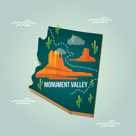 monument valley: arizona state map