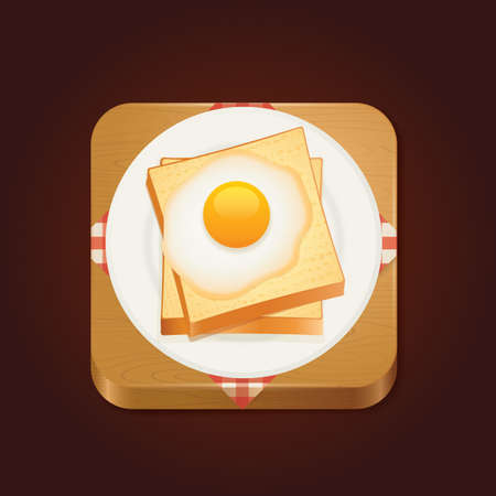 fried: bread and fried egg Illustration