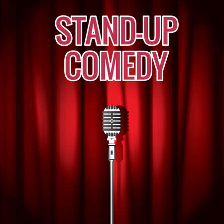 curtain up: stand-up comedy Illustration
